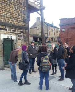 Dr John Tanner explaining the importance of Elsecar's Newcomen engine.