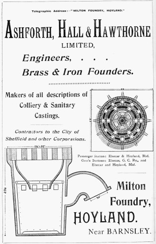 advertisement for Ashforth, Hall and Hawthorne company operating Milton Foundry in Hoyland, 1902