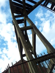 Bright sky over the old pumping shaft