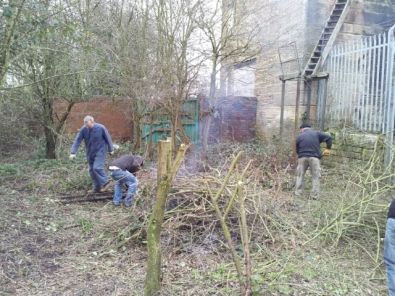 Volunteers clearing vegetation on lower level of site