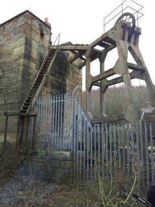 The Cornish pumping engine house and later concrete headgear