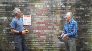 Steve and Alan discuss progress on cleaning up the inside of the fanhouse.