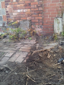 Packing small bricks mark the edge of the brick path, by the tree stump and an iron plate