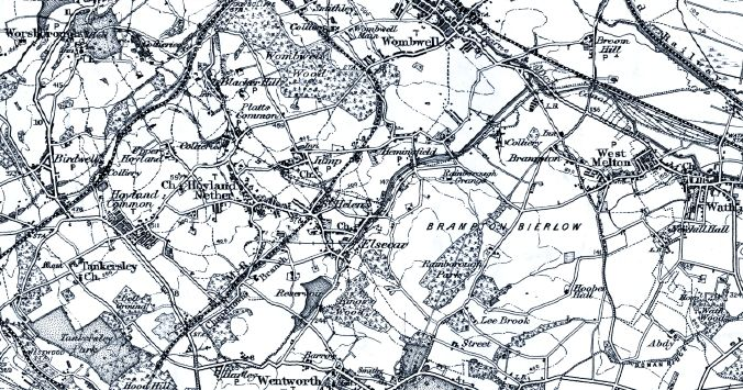 1911 Ordnance Survey 1 Inch map of the aea around Hemingfield