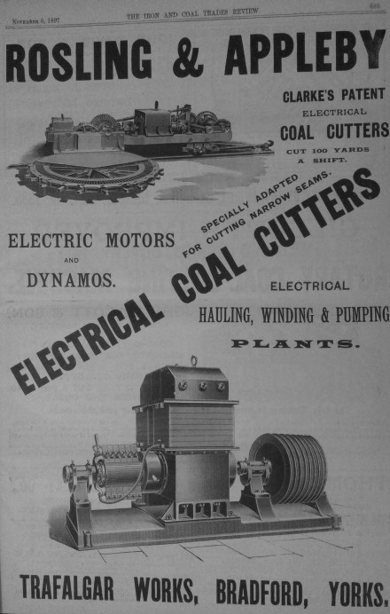 Clarkes patent electric coal cutter