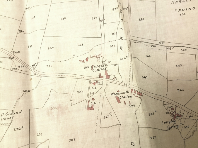 Plan with coloured outlines of buildings at and around Lidgett Colliery c.1909