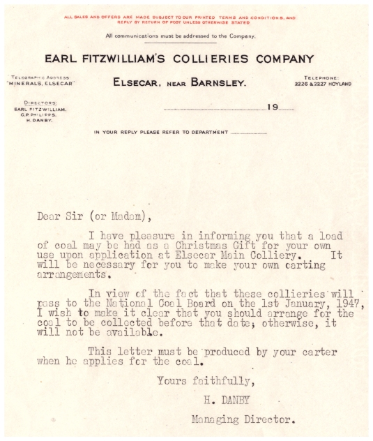 Christmas Coal letter from Earl Fitzwilliam's Collieries Company