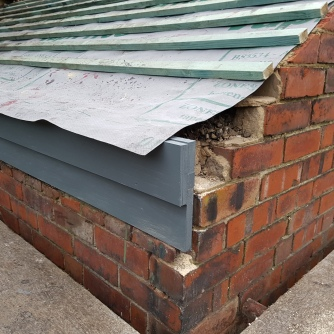 Fascia board, battens and membrane