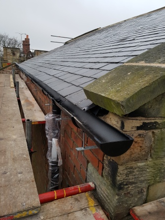 Heritage guttering; reused and new-to-us Welsh slate