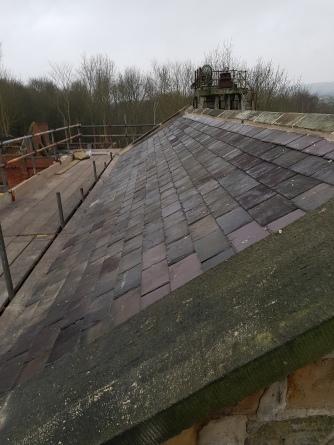 reused slate, stone ridge stonework