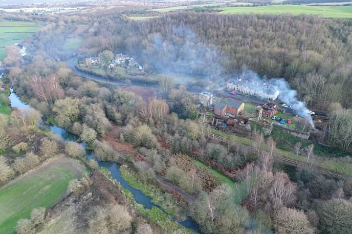 Drone high view of modern day Hemingfield Colliery site, with Elsecar branch of the Dearne and Dove Canal seen below the pit