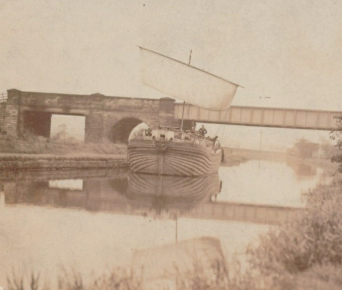 Sail barge on the canal near Kilnhurst in the early twentieth century