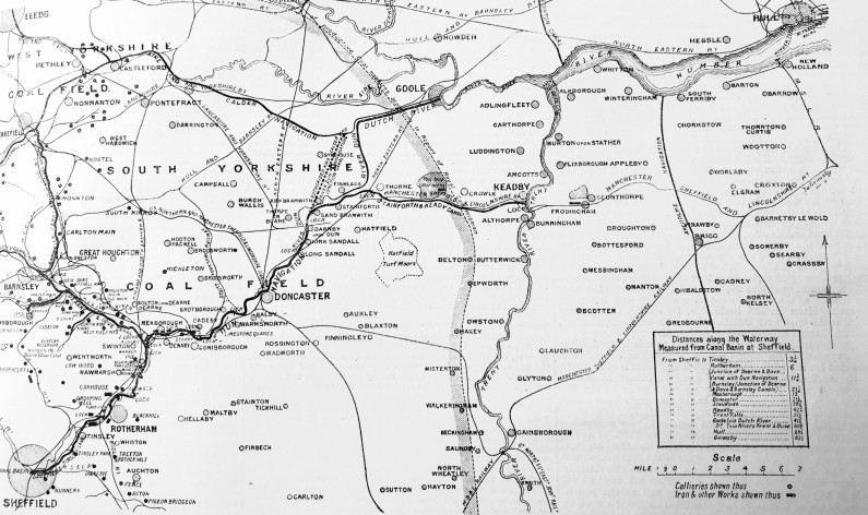 Line map of the Sheffield and South Yorkshire Navigation canal system (branches and collieries served between South Yorkshire and the Humber) in Dec 1894, including the Elsecar branch of the Dearne and Dove Canal (from The Engineer, vol.78, 28 Dec 1894, p.569)