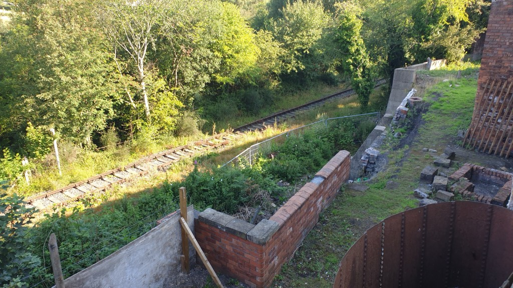 View of lower terrace behind winding engine house at Hemingfield Colliery