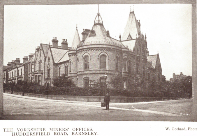 Yorkshire Miners Association (Now NUM) building on Huddersfield Road, Barnsley, Warner Gothard image from Borough Pocket Guide to Barnsley, 394 c. 1908