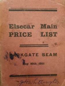 Image if the printed Elsecar Main colliery price list for working the Parkgate seam as agreed between arbitrators for the owner Earl Fitzwilliam and for the working miners.