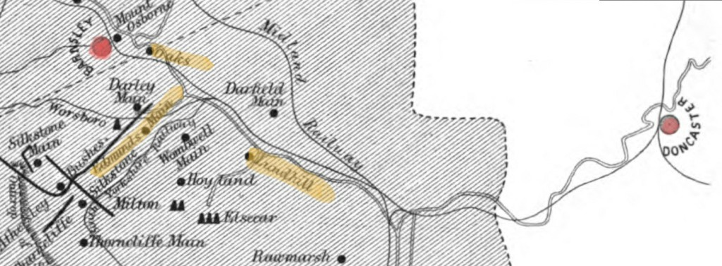 Modified printed sketch map of the South Yorkshire coalfield as of 1862, with Doncaster in the east connected by rail to the collieries around Barnsley to the west (both towns highlighted in red). Also highlighted in yellow are the three pits of Lundhill, Edmunds Main and Oaks collieries.